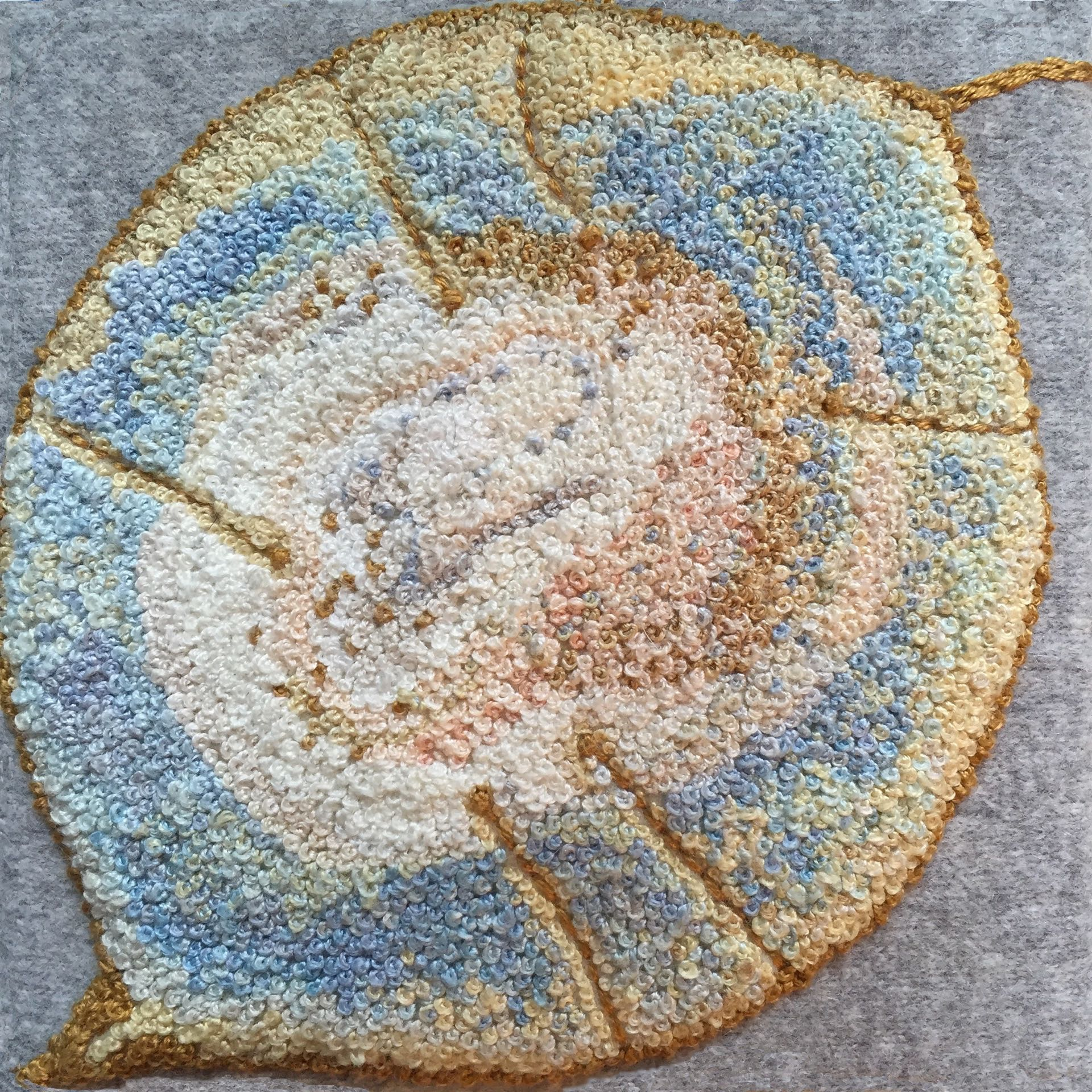 """Seed Head 3, 2015,French knots and wool felt appliqué, 4"""" x 4"""" x 1.5"""""""
