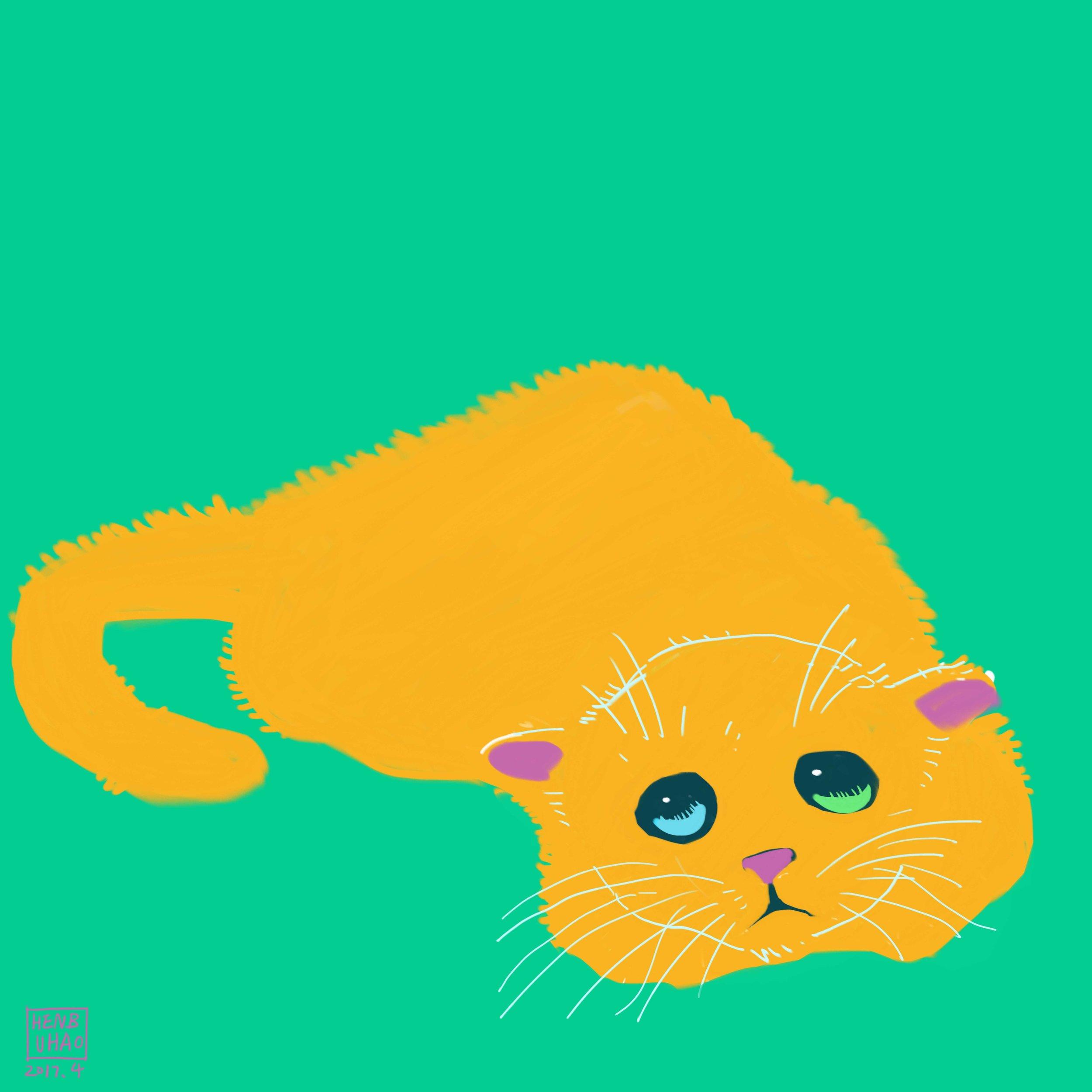 "Little Yellow Cat,Inkjet print on artist paper, 50 edition, 5.5""x 5.5"", 2017"