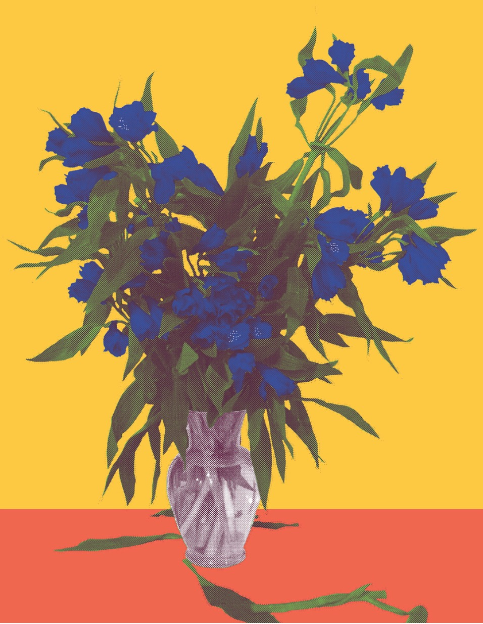 "Flower Vase Orange, inkjet printed on hot press bright paper 320g/sm, 19"" X 13"", 2017"