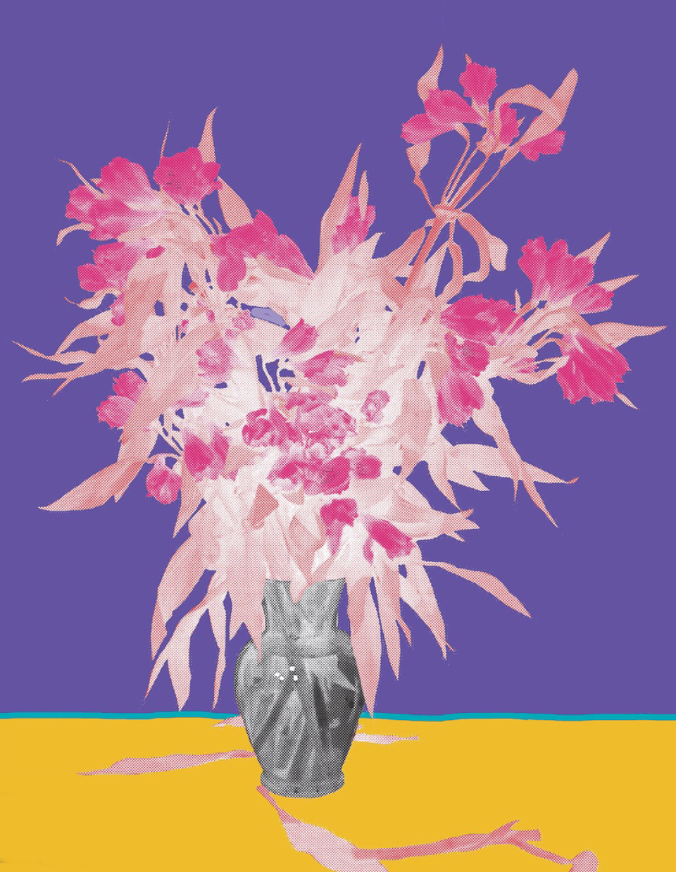 "Flower Vase Purple inkjet printed on hot press bright paper 320g/sm, 19"" X 13"", 2017"