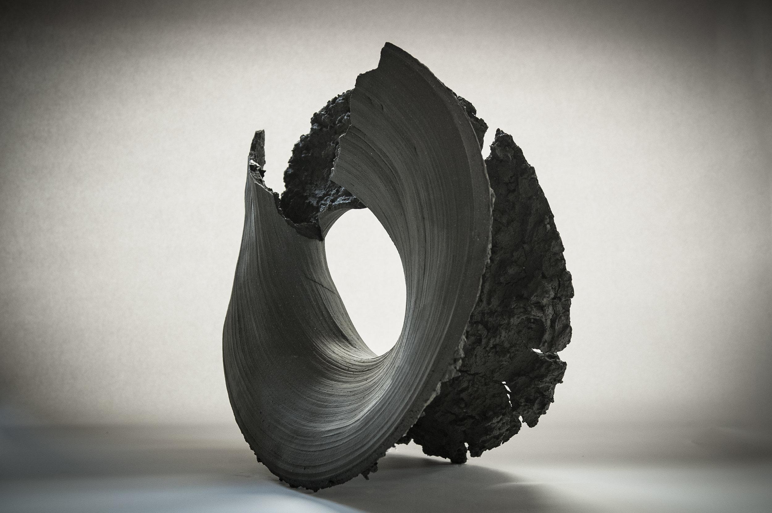 """Zhihui Xie  Didymous I  Black Stoneware, Unglazed  16"""" x 25"""" x 19""""  2018"""