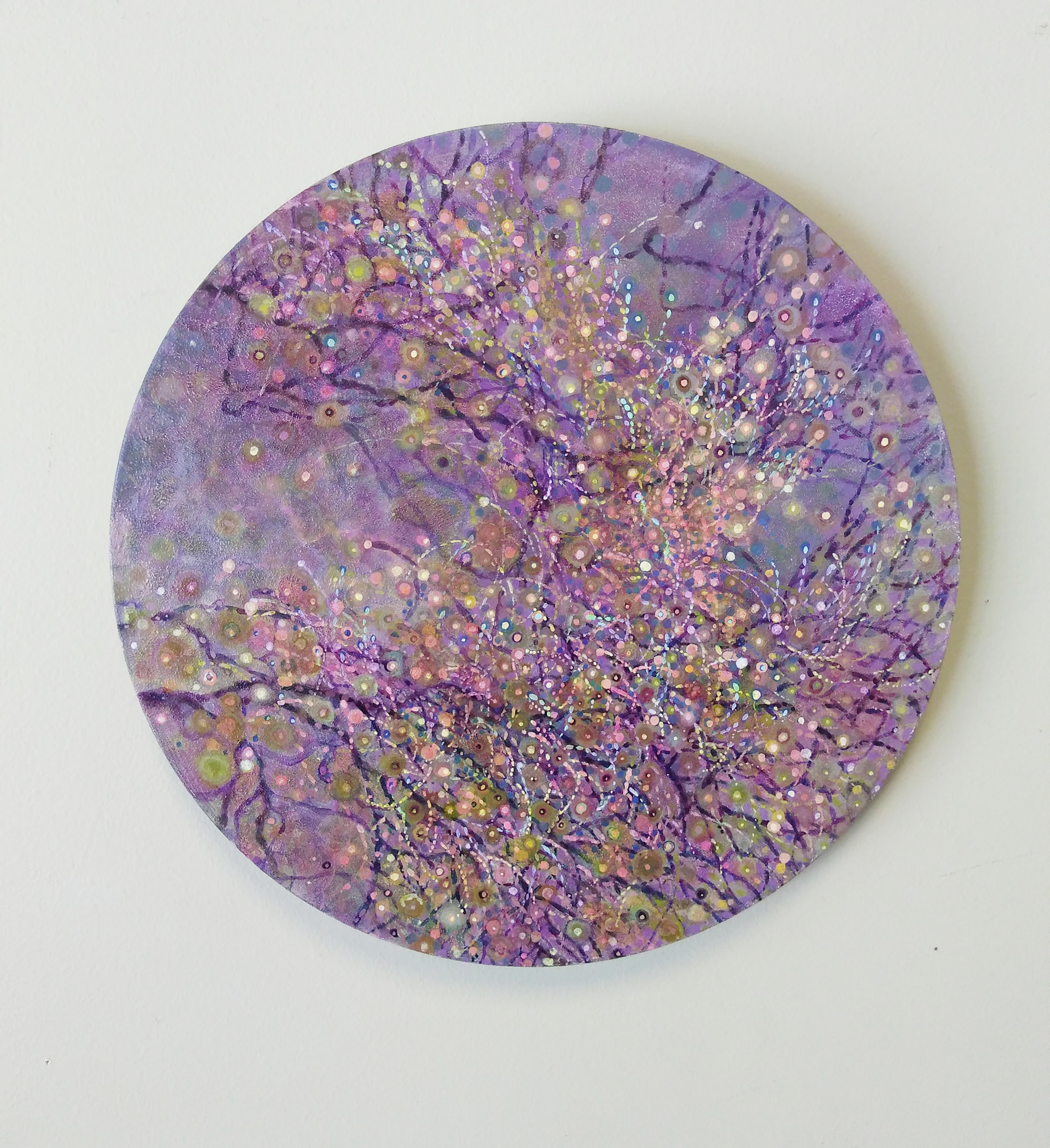"Shuling Guo  Spring 2  Acrylic on Canvas Board  Diameter: 12""  2018"