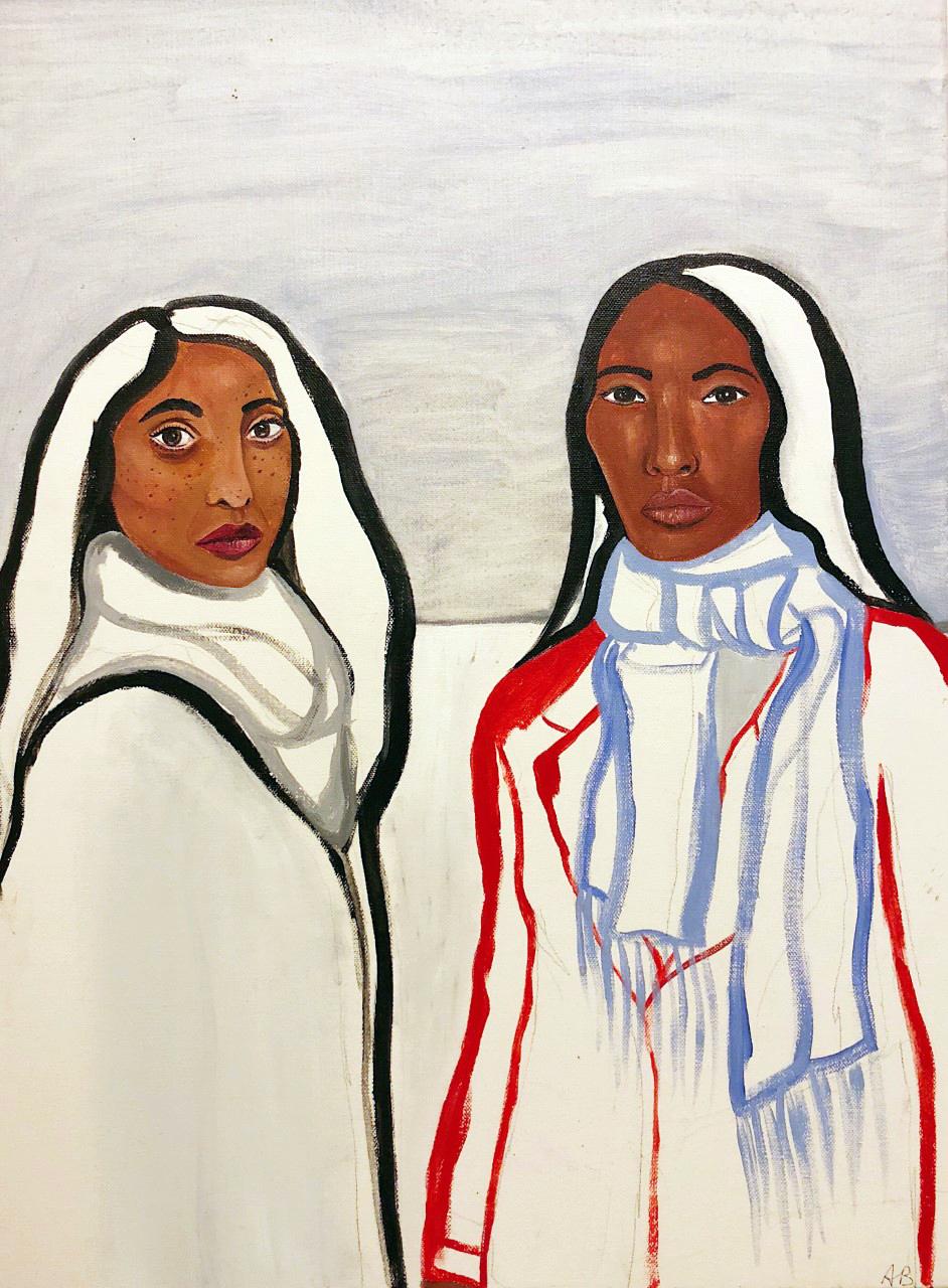 """Annabelle Buck  Two women in a field  Acrylic on canvas  24"""" x 18""""  2018"""