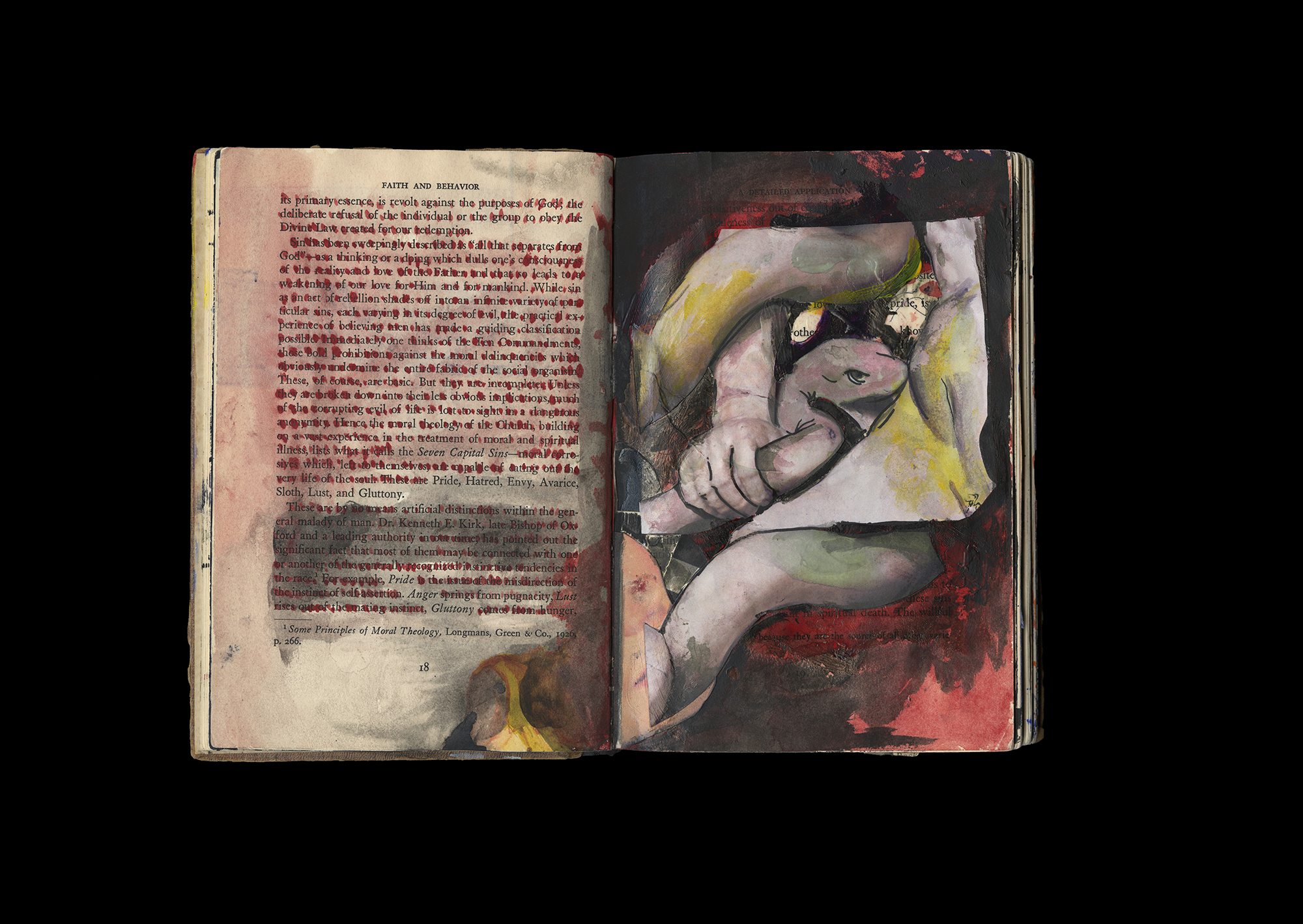 """Noah Steinmann  Altered Book, Faith, and Behavior  Acrylic, watercolor, matte medium, ink, and found images from """"The Grape"""" by Chad Walsh and Eric Montizambert  8.5"""" x 11''  2018"""