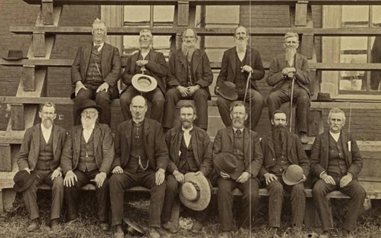 Indian War Veterans, Top Row - 1. T. R. Cornelius, 2 - S. A. Holcomb, 3 - Albert Stewart, 4 - Noah Jobe, 5 - Isaac Butler. Front Row - Wm. Kane, H. Wehrung, Abner Vaughn, [pencil] Geo. Zimmerman or Wm. Thomas. [pen] Sam Williams, Jabez Wilkes, W. H. H. Myers.