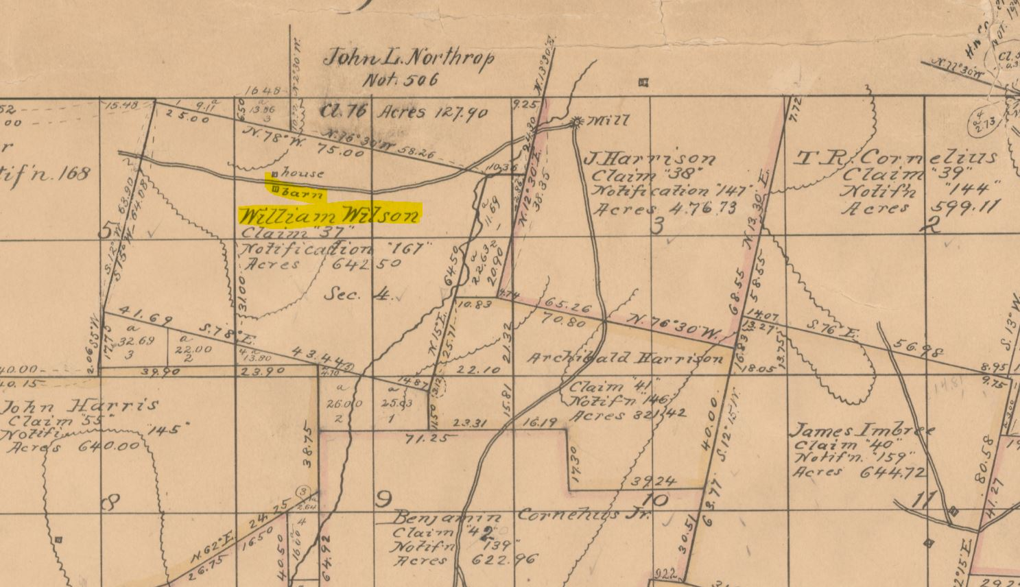 Seen here in the 1851 Survey map is the William Wilson Claim of 642.50 Acres and the surveyor clearly is showing the location of their home and barn.  Some of their neighbors names are well known today.
