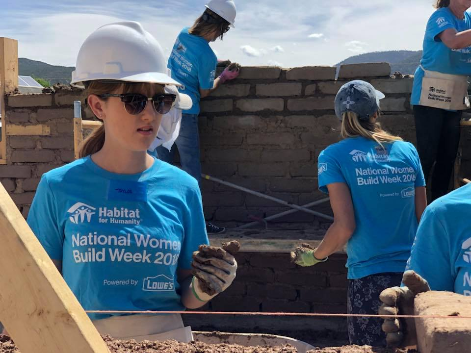 Volunteers working with adobe on a Habitat for Humanity of Taos' Women Build Taos 2018, part of Habitat National Women Build Week.