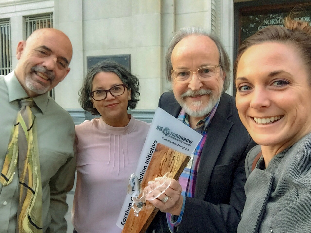 SA Tomorrow Sustainability Award with (left to right) Ron Evans (ECI board member); Celia Mendoza (ECI board member); Stephen Colley (ECI President); and Lauran Drown (ECI Vice President).