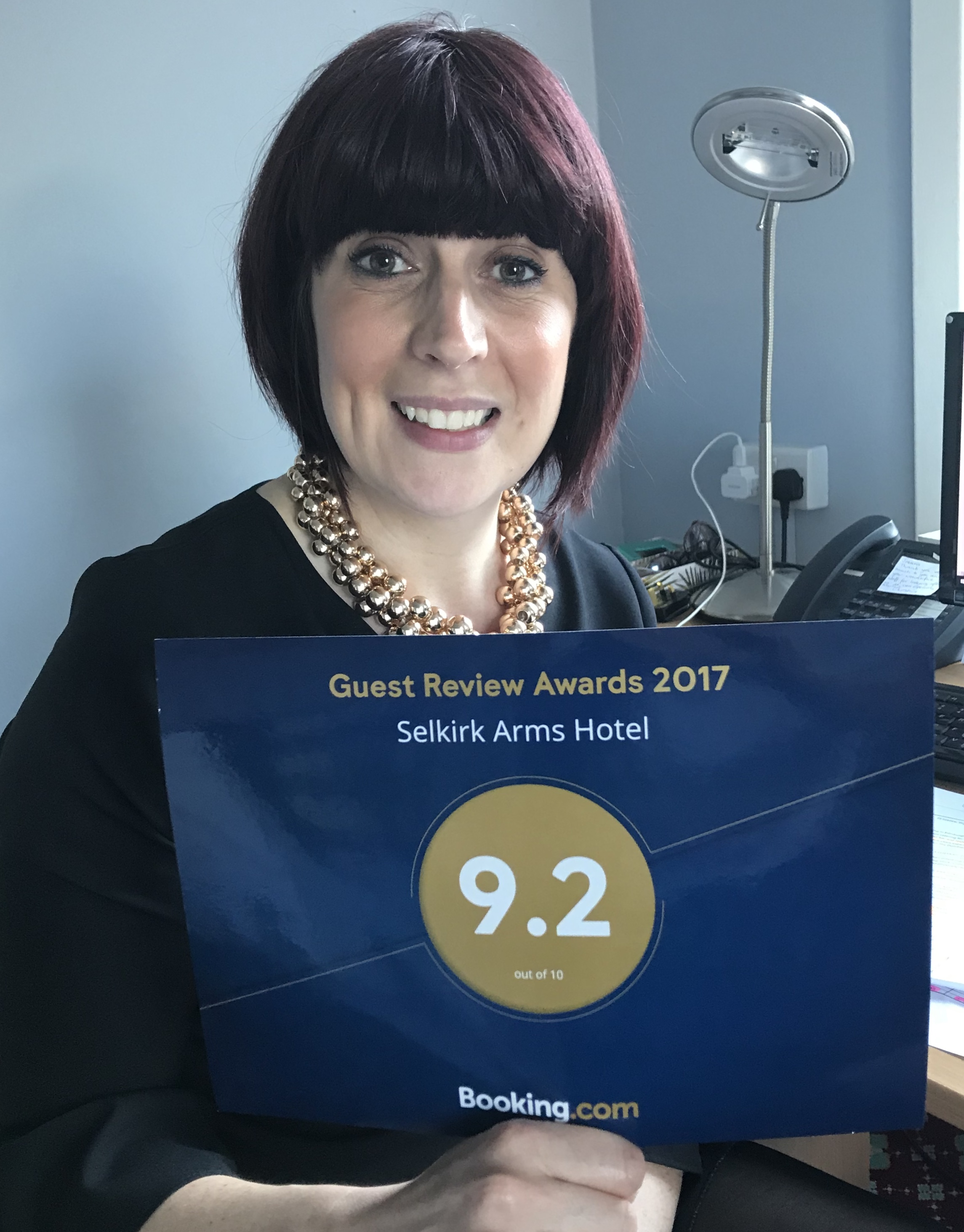 General manager Joanna Scott with our 9.2 booking.com award