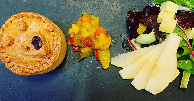 Homemade Pork Pie, piccalilli, pear and cheddar salad #kirkcudbright #eatscottish