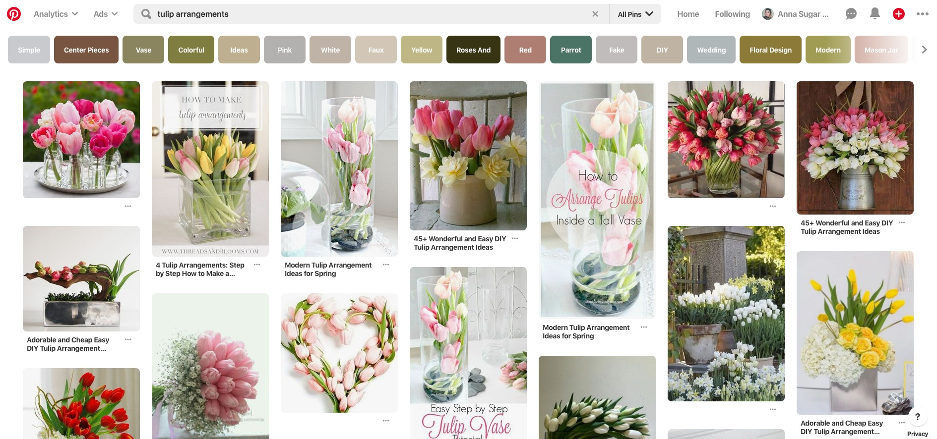 """An example of a search for """"tulip arrangements"""" on Pinterest."""