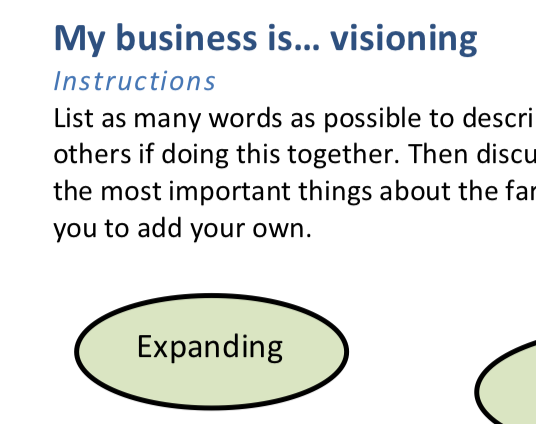 MY BUSINESS IS ... VISIONING    This exercise  helps you develop a core set of words and sentences that describe your work.  Click to view this PDF.