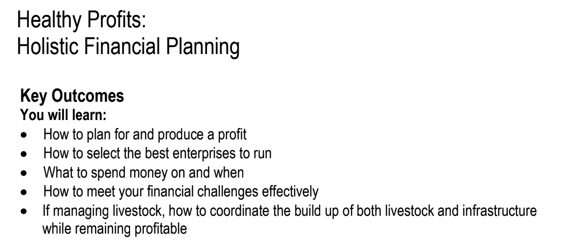 Financial Planning manual 2012.If you are interested in learning more about the Holistic Management method for financial planning, this report is an excellent starting point.  Click here to view this PDF .