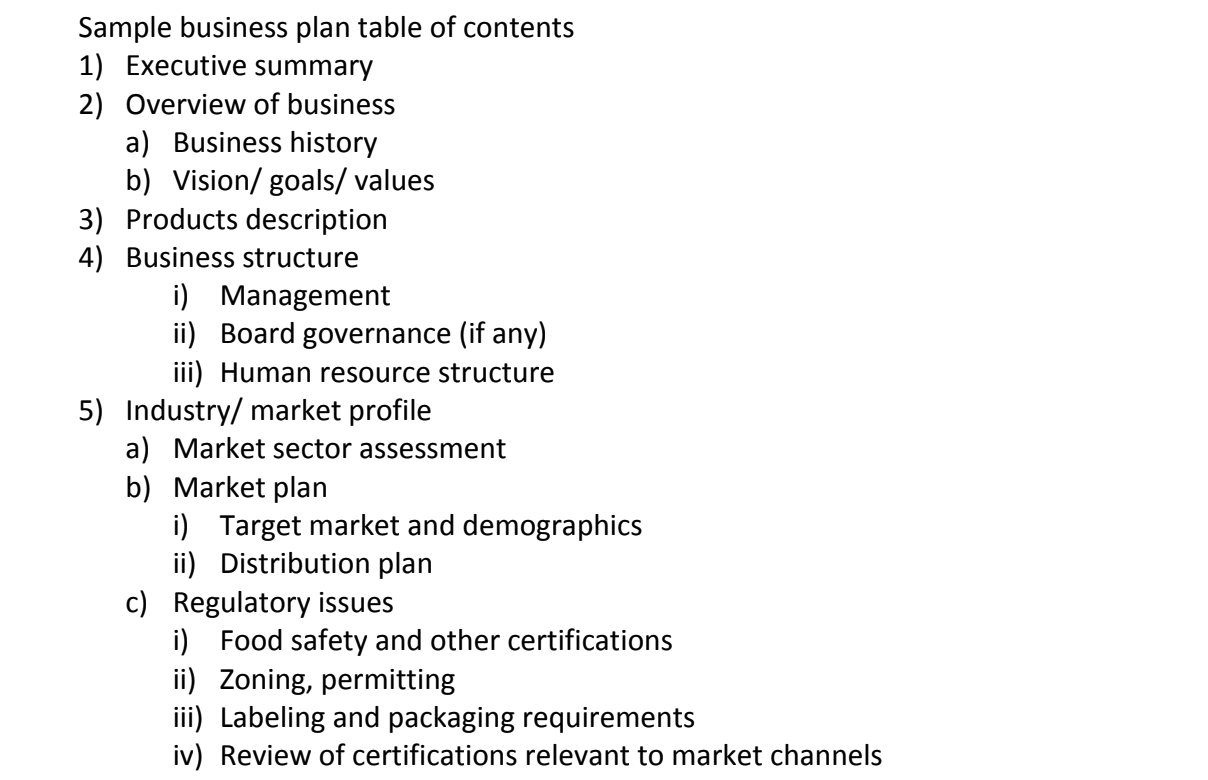 Sample business plan table of contents.  Click to view this PDF .
