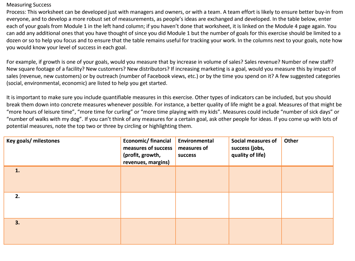 This process begins from the Key Goals worksheet in the first module, so if you have not filled that out, it is linked again here.  Click to view this PDF.