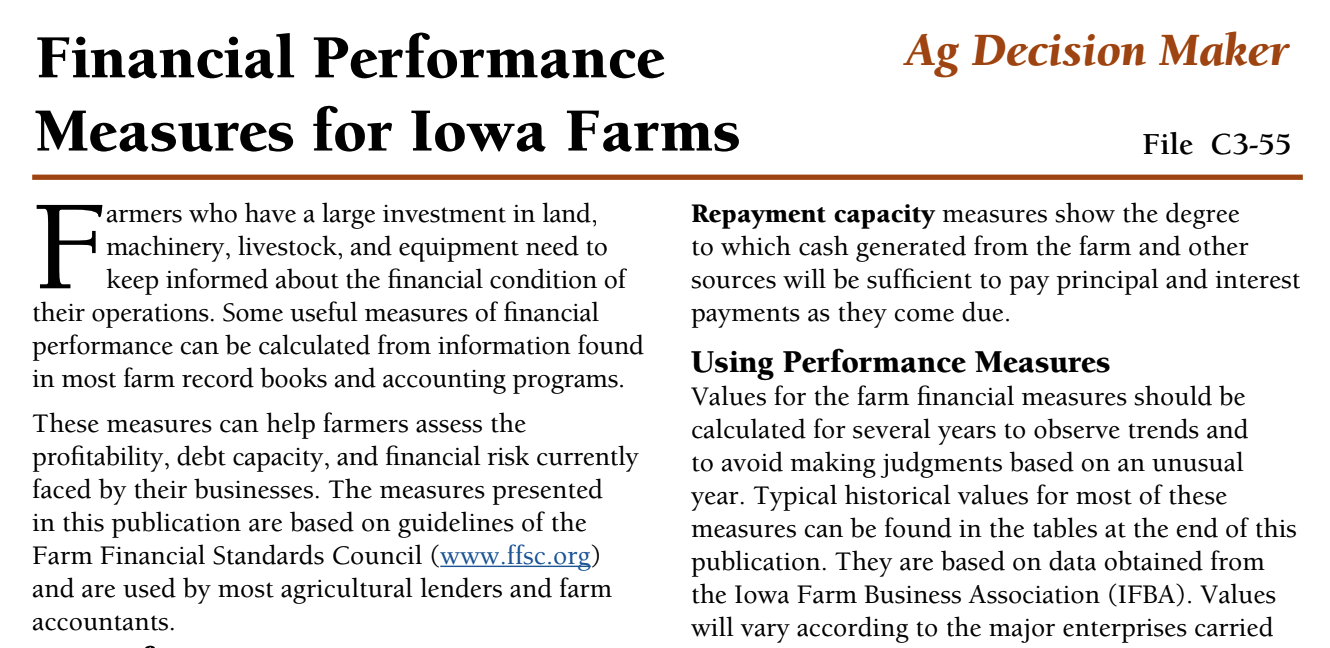 This concise document from Iowa State University provides an explanation of terms and key financial performance measures.  Click to view this PDF.