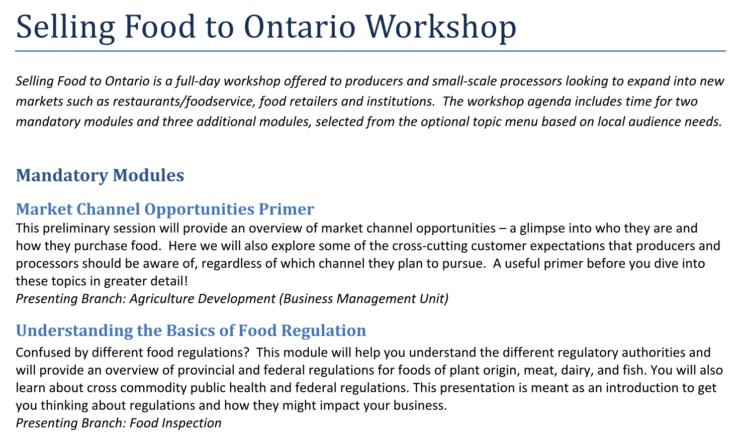 Menu Selling Food to Ontario Workshop. Click to view this PDF.