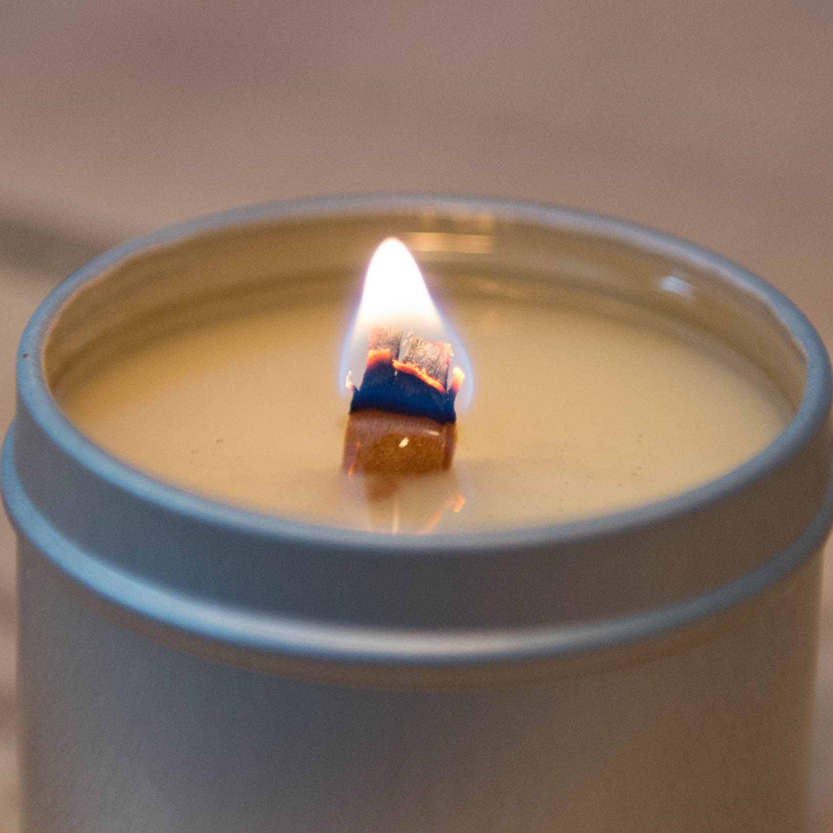 865 Candle Company Burning 2 oz. Clear Glass Jar Candle