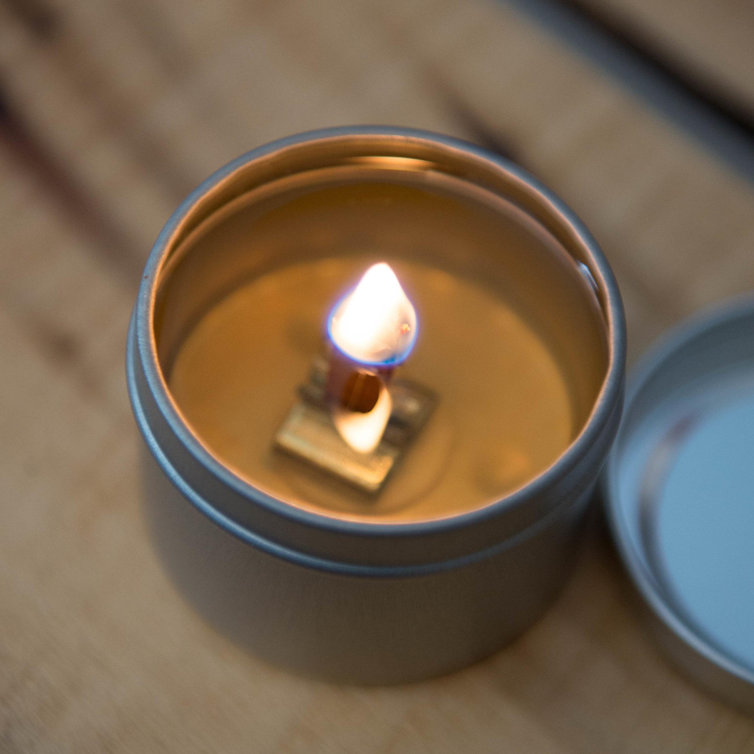 865 Candle Company Burning 2 oz. Tin Soy Candle