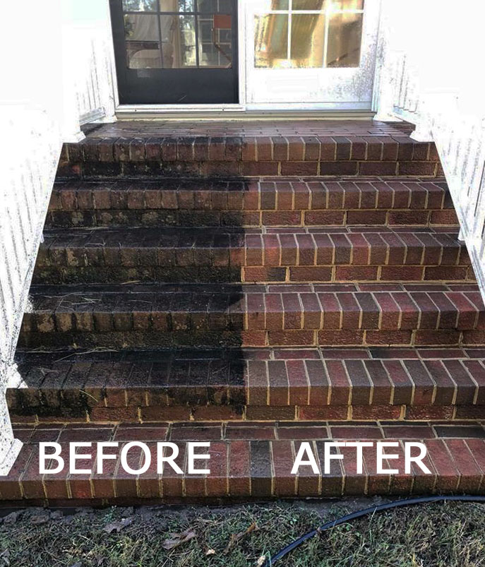 Brick Steps Pressure Washing