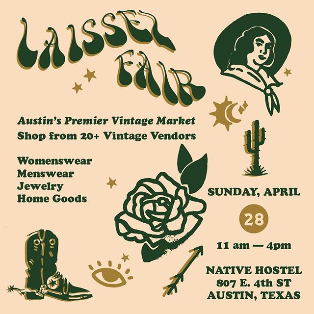 See everyone at @laissezfairtx TOMORROW!!! @laissezfairtx is co-hosted by @pieceologyvtg and @passportvintage and this is our 6th market which is pretty crazy. Buy a VIP ticket and get in early to snag the best stuff — details on tickets on the @laissezfairtx IG.