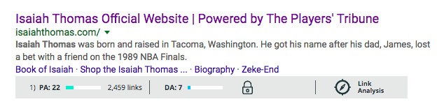 Isaiah Thomas' below-average Page Authority (PA) and Domain Authority (DA) score on Google