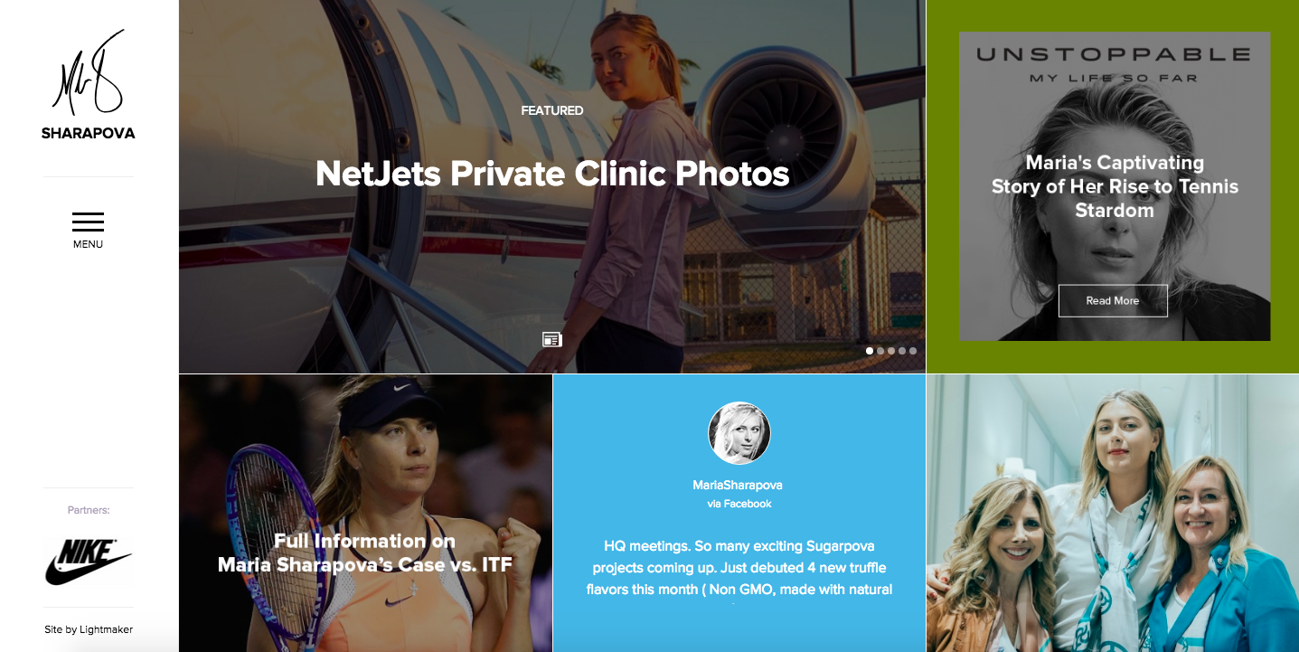 Maria Sharapova features a heavy dose of content on her website.