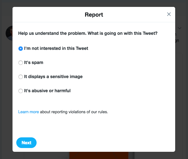 "The ""Report Tweet"" function on Twitter"