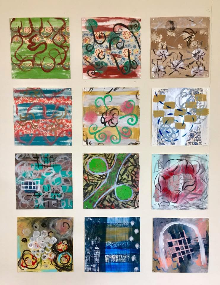 PATTERNED SERIES - Fall 2018 (each painting on paper is 12 x 12 inches)