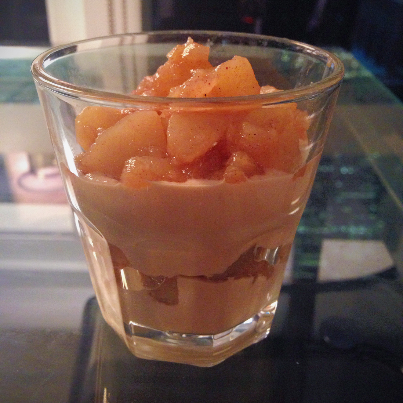 Dessert is tricky because it is rather difficult to come up with a sweet and satisfying treat while minimizing the use of sugar, creams and fats. I finally came up with a gluten and dairy free option that utilized the natural sweetness of fresh fruit. I also experimented by trying to make a vegan alternative cream using raw cashews that I soaked and then blended in a food processor with vanilla extract,vanilla almond milk, and a little bit of coconut sugar. It turned out very well! I really liked the dessert because it wasn't overly sweet and the cashew cream had the added benefit of that great nutty flavor. It was very simple to prepare and it looked nice piled neatly into see-through glasses. This would be good for parties because it can be prepared in advance and set aside to chill. You could also play around with presentation and serve the dessert in shooters, or wine glasses.