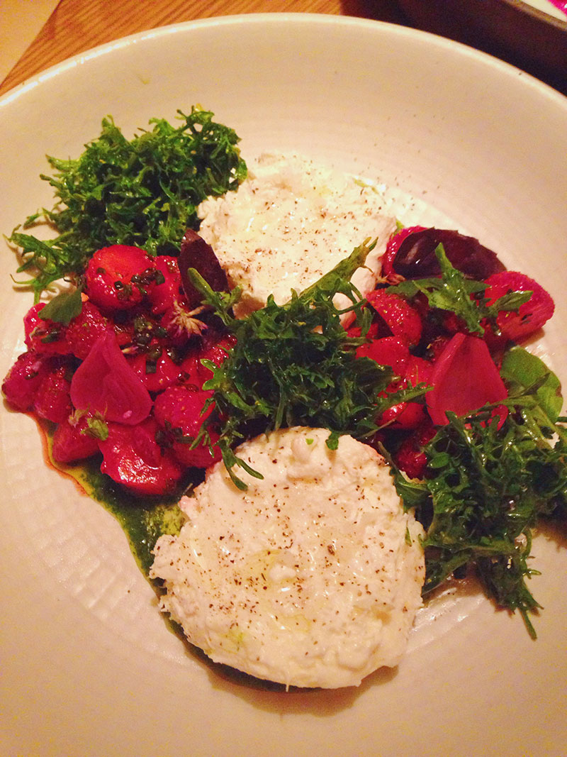 We then opted for three vegetable dishes. The first to arrive was a burrata cheese with strawberries, arugula and fresh herbs. I had been very excited to try this dish because I felt that the combination of in-season strawberries and rich burrata would be delicious, I was correct.  Next, we savored a beetroot tartare with horseradish and smoked trout roe. This dish harkened back to my Scandinavian roots andI really appreciated the delicate flavors and textures of dill with smoked roe. Following the tartare was a slightly heavier dish of fried Avocado squash accompanied by a shmear of lemon verbena yogurt.