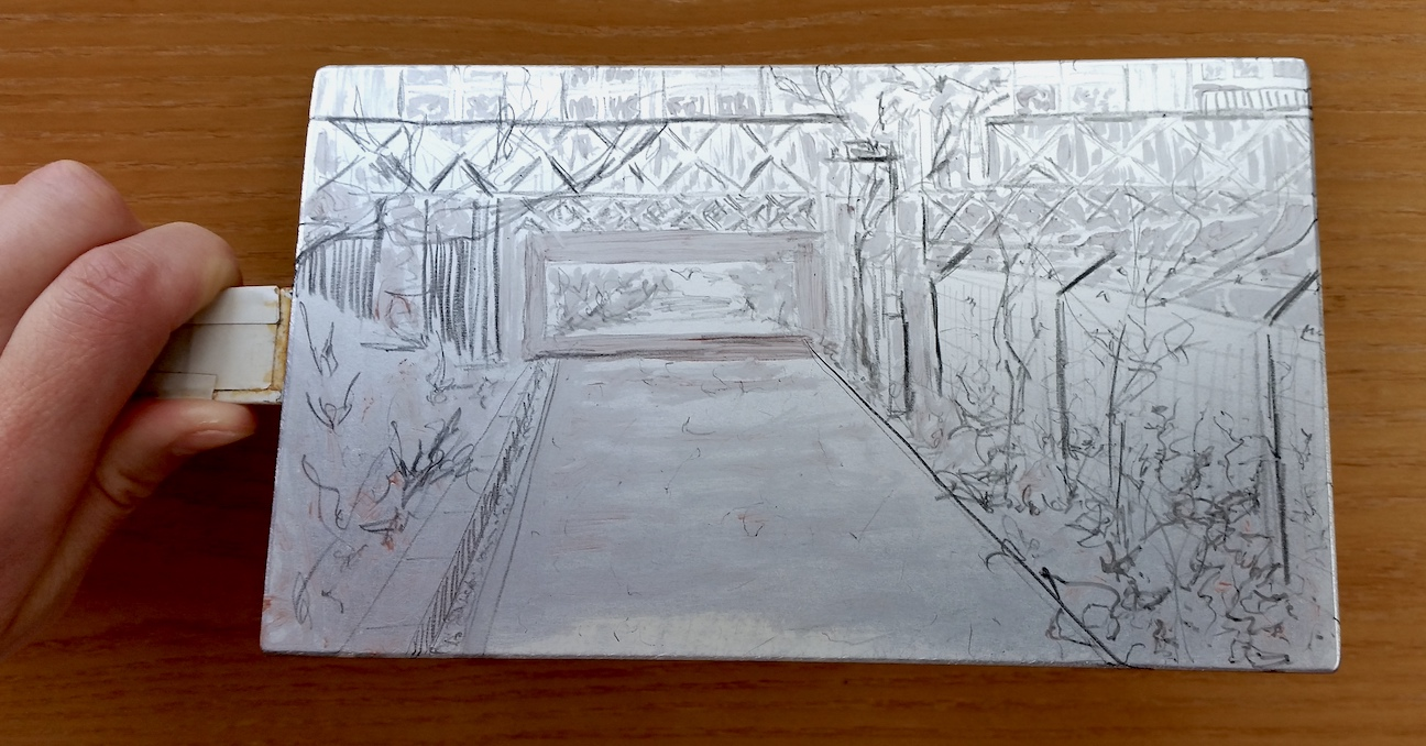 Underpass. Prepared plate (pre-etch) - thin layer of crisco and chinagraph pencil applied