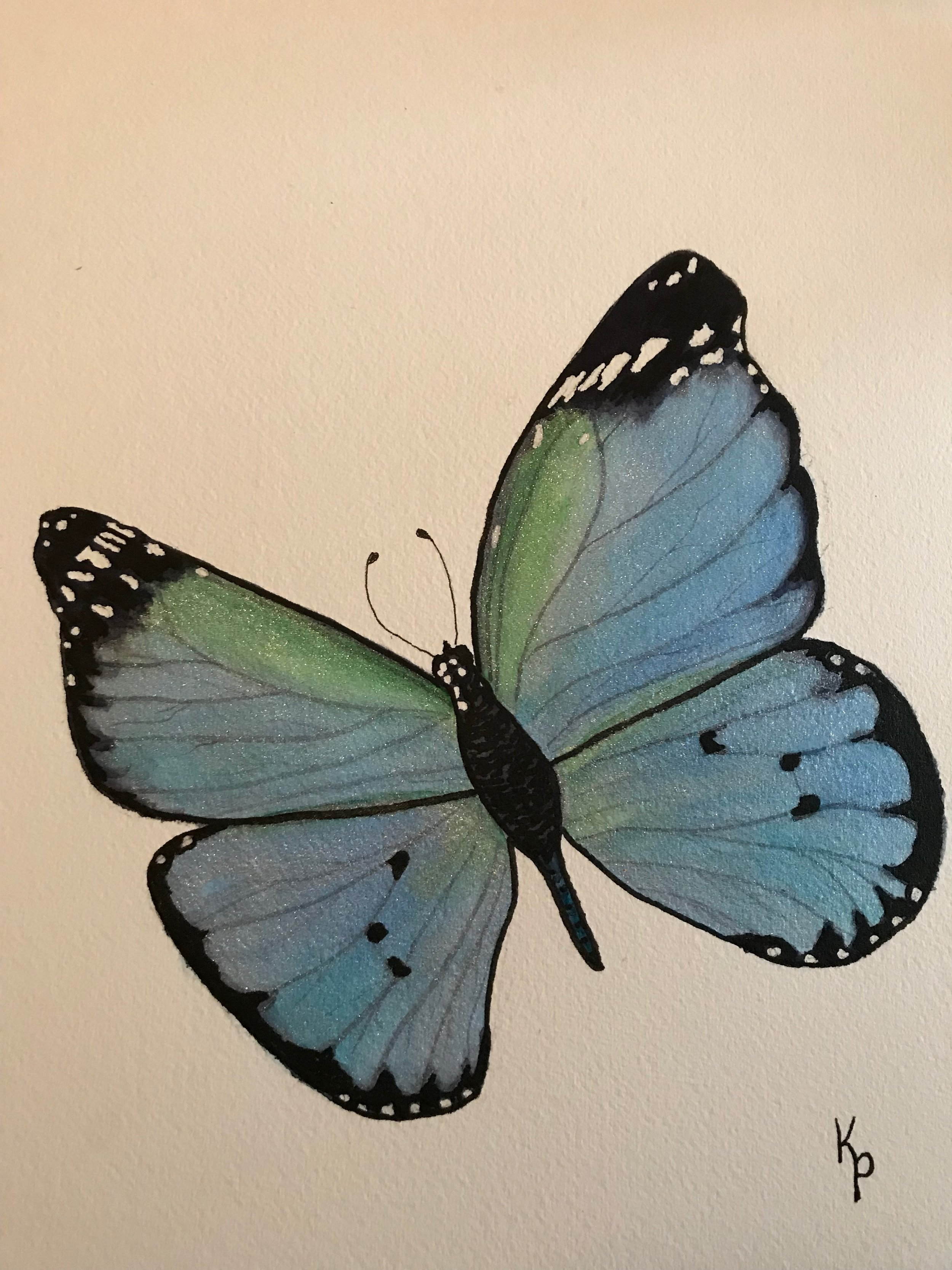 Pretty blue butterfly - with sparkles!