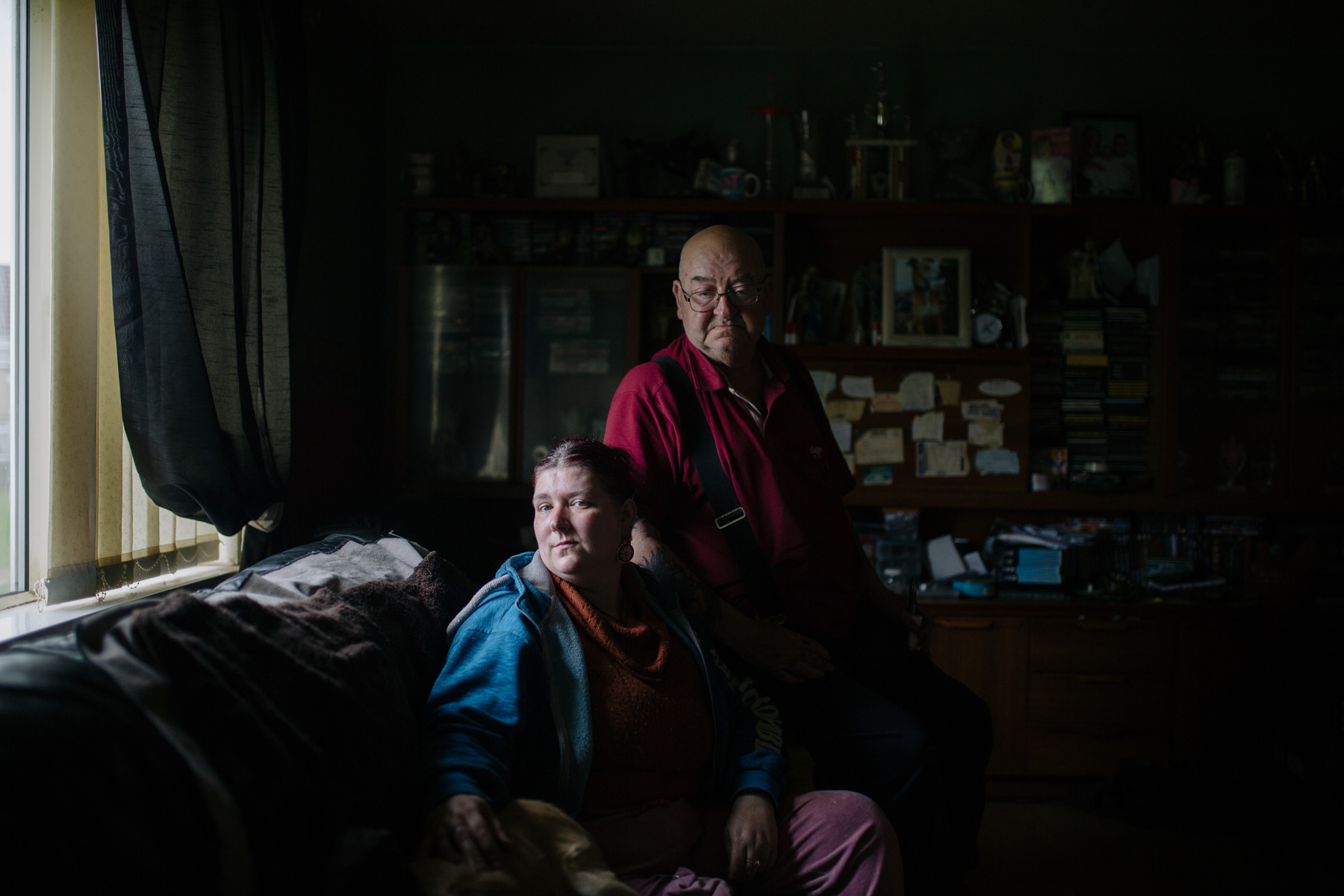 Suzanne Jenkins, left, and her father, William John Jenkins, live in the Gurnos housing estate. Suzanne lost her leg in an accident 15 years ago after being struck by a drunk driver age 21.