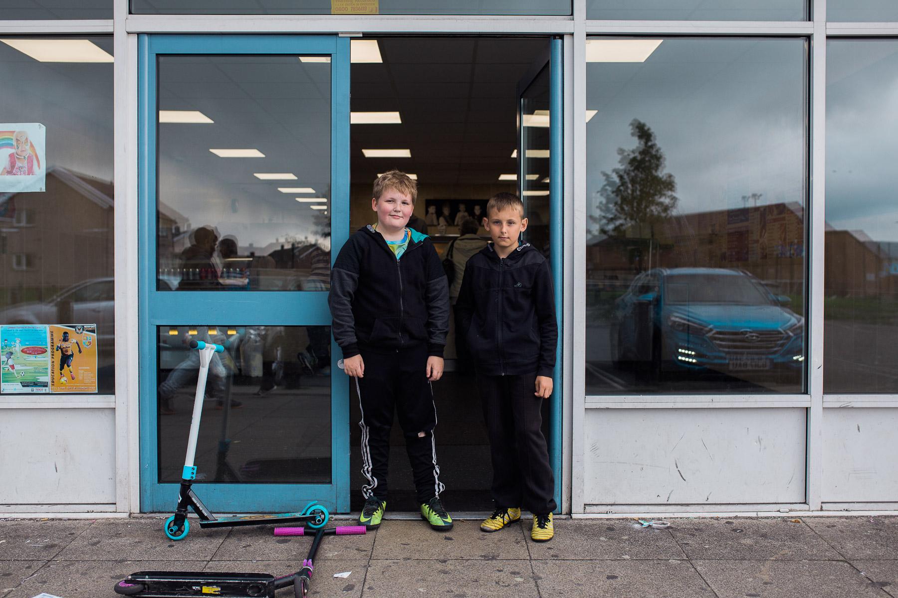 Children outside the Gurnos chippy.