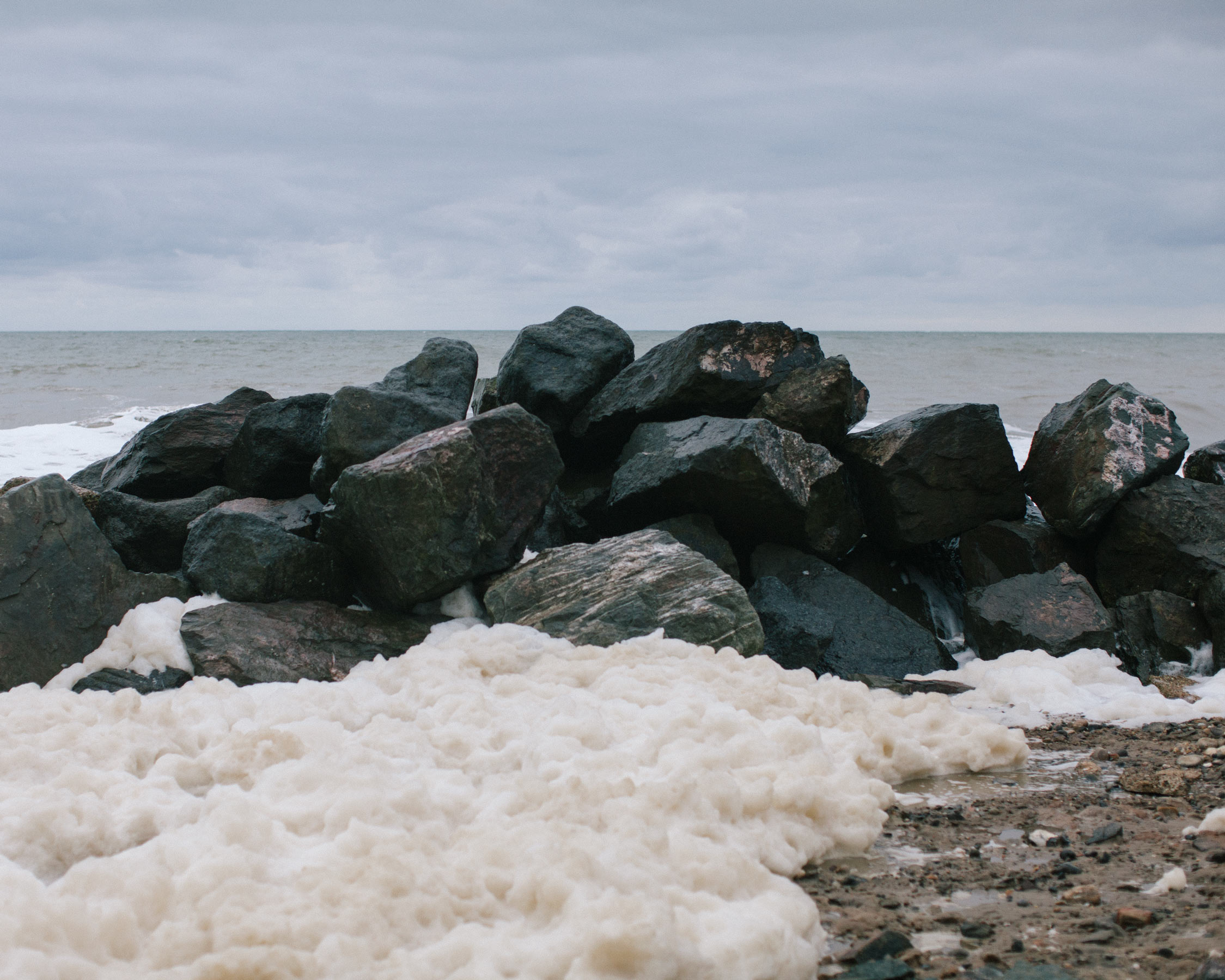 The old sea defences are no match for the tidal surges experienced in this part of the UK.
