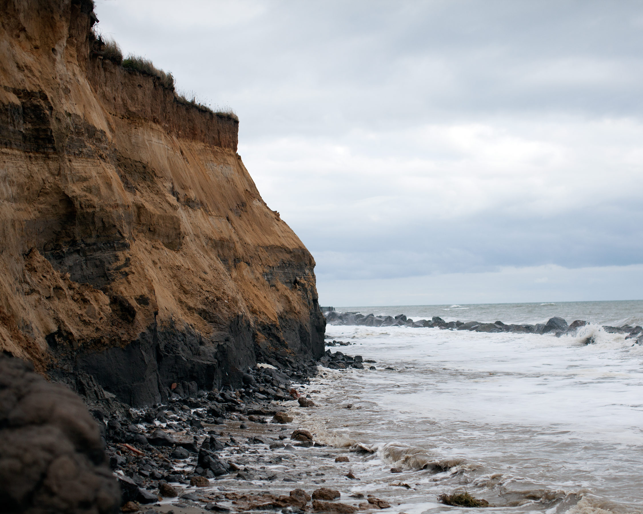 In 2007 4,000 tonnes of rocks were placed at the foot of the cliffs in Happisburgh. At a cost of £200,000 to North Norfolk District Council and £50,000 to villagers but these defences have now been washed away, leading to huge erosion.