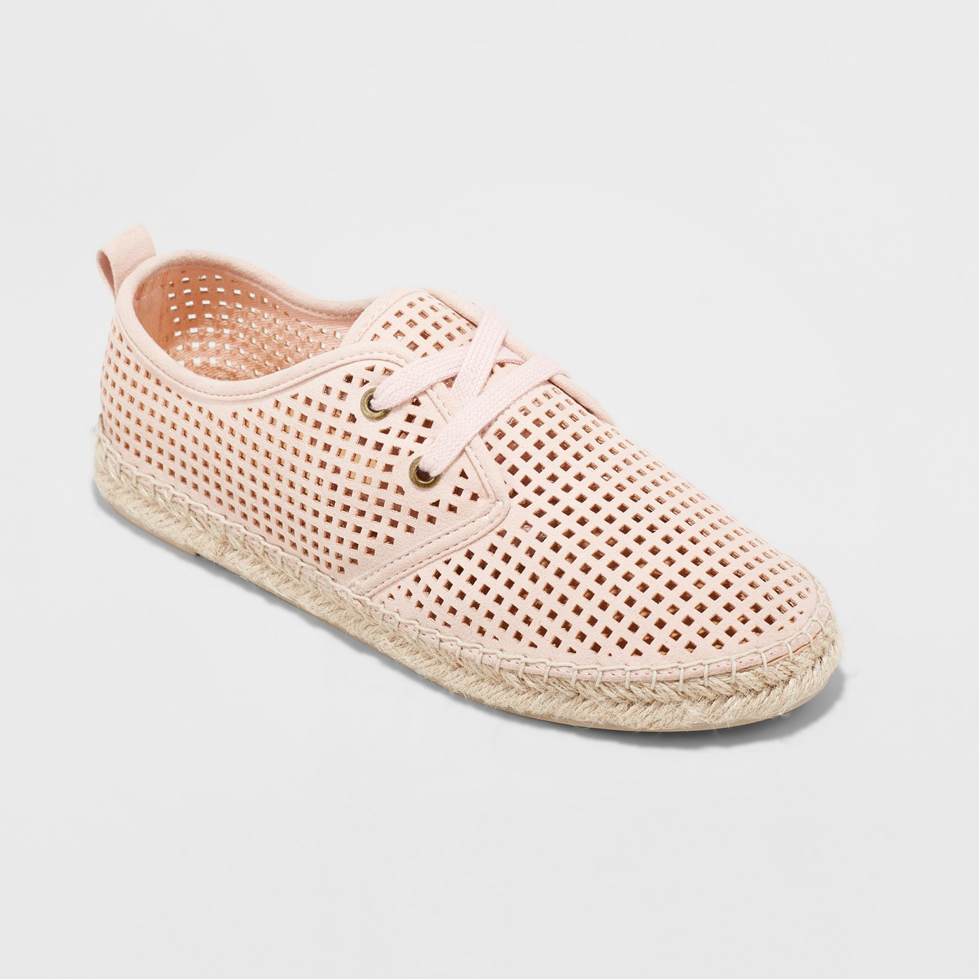 blush pink perforated sneaker espadrille spring shoes