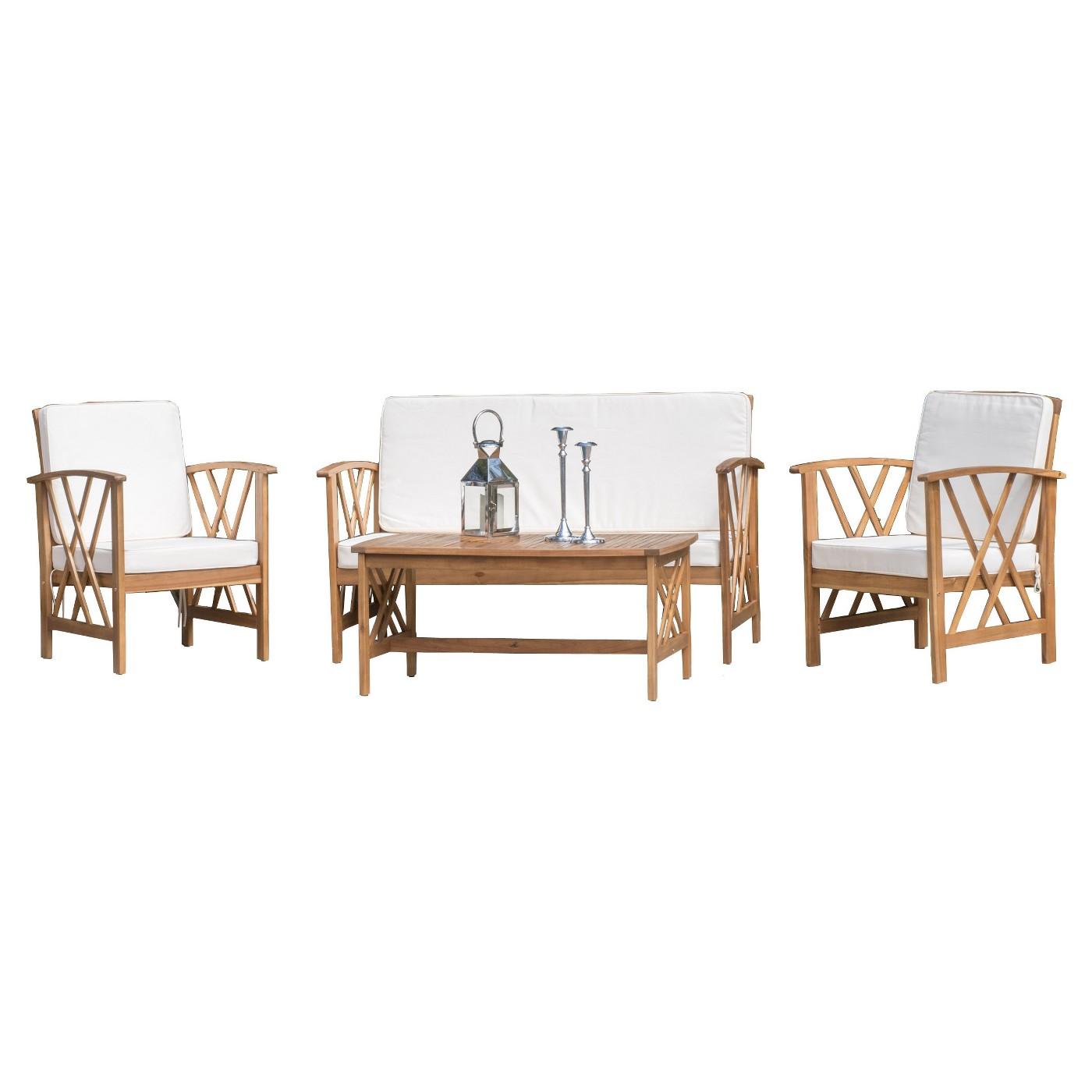 Langdon Acacia Wood 4-Piece Patio Set - $456 at  Target