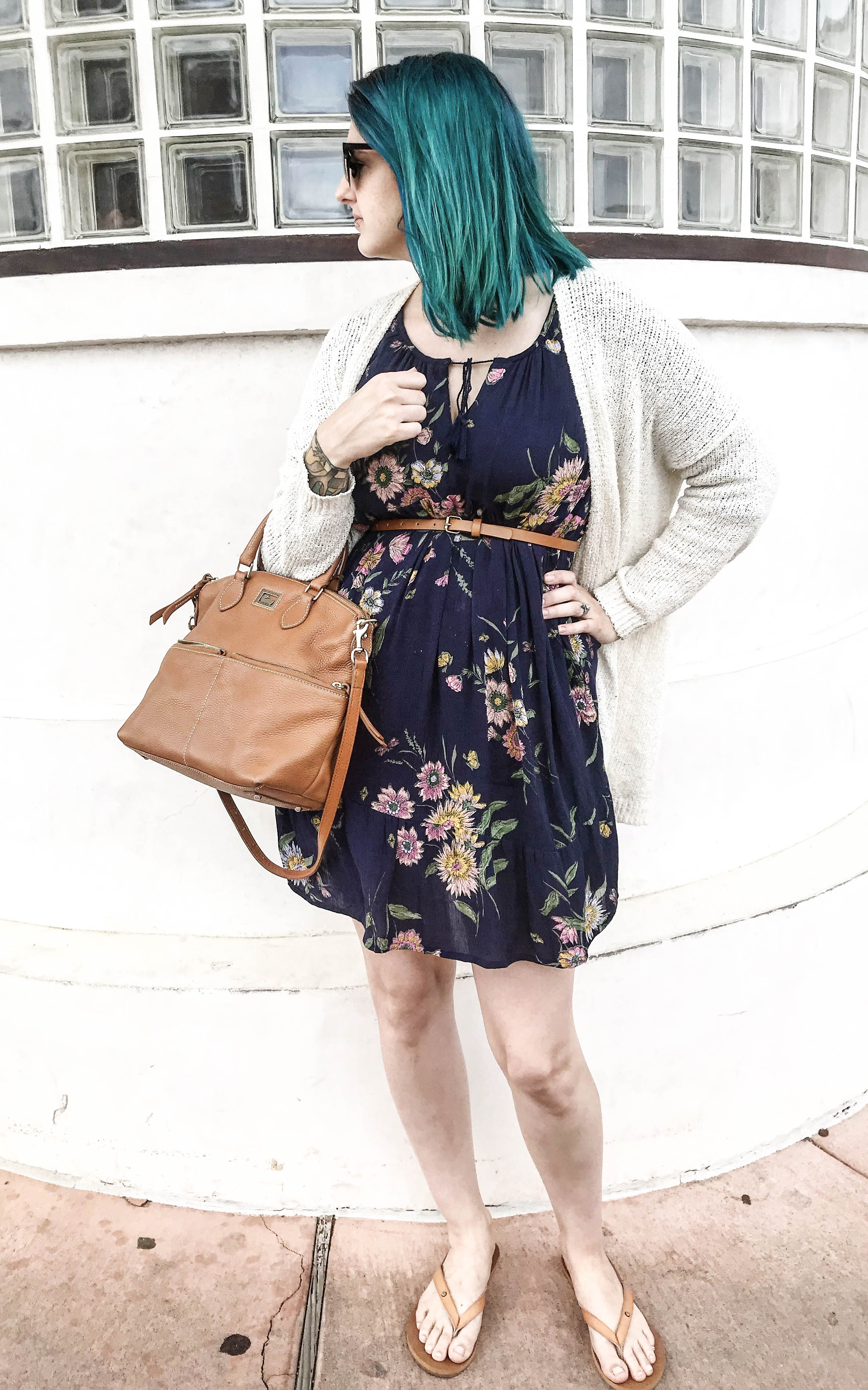 navy floral casual dress brown handbag