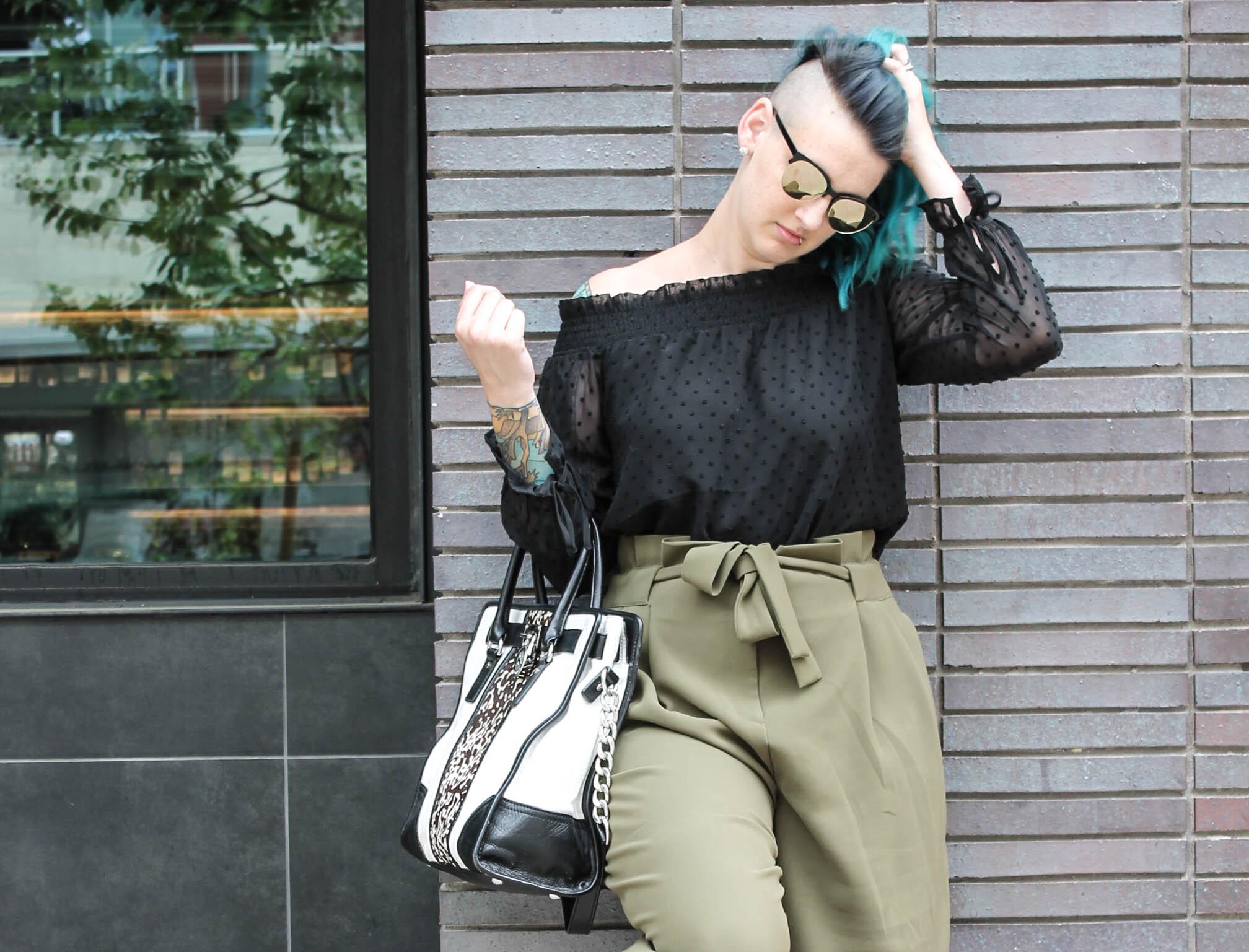 black white calf hair Michael Kors satchel