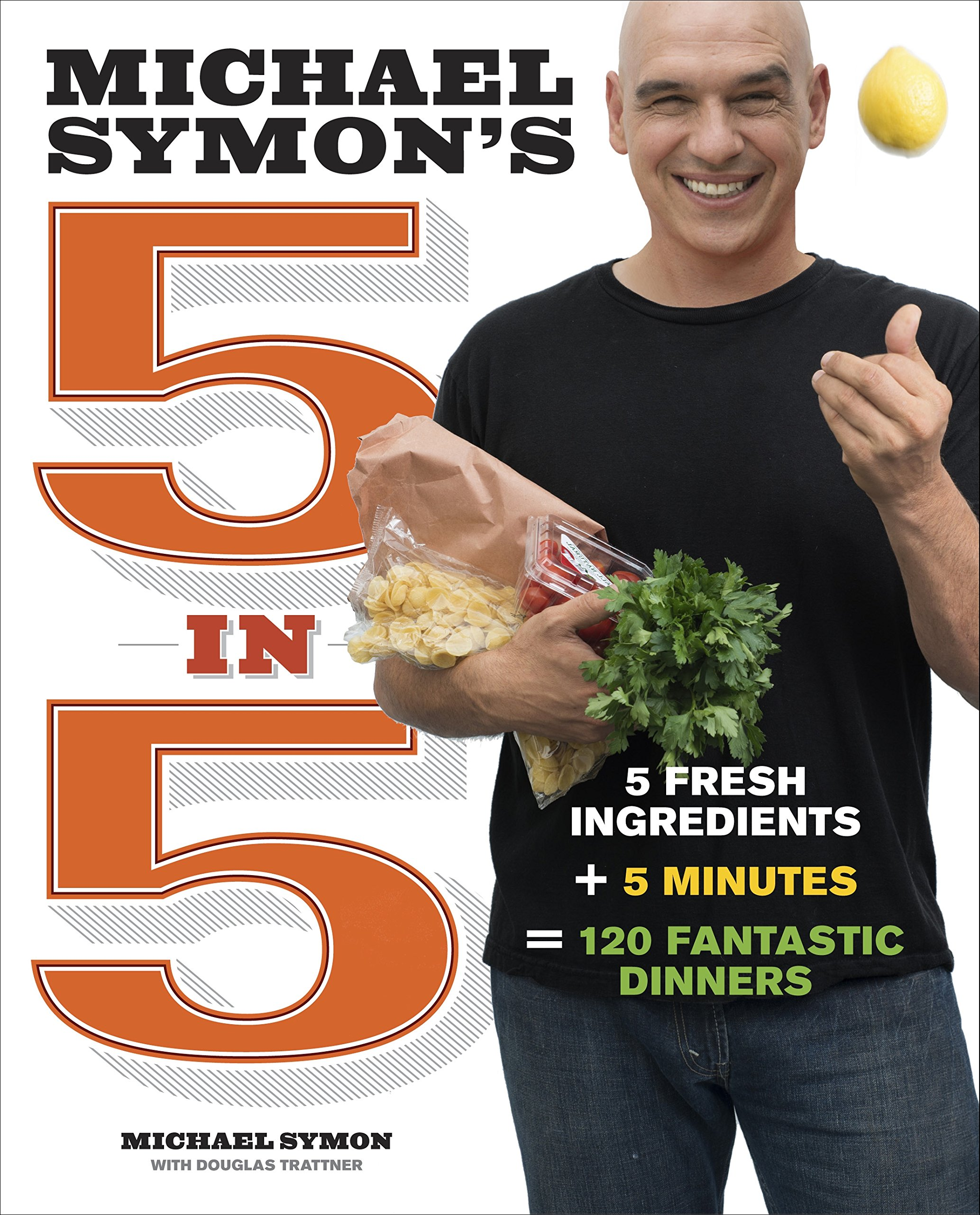 Michael Symon's 5 in 5 - by Michael Symon and Douglas Trattner5 in 5 was written on the premise of creating a great meal with five fresh ingredients and five minutes of cooking. The book is organized by cooking technique, including grilling and foil packets, and there is an entire section devoted to just ice cream (yes, you read that right).The Angel Hair with Corn, Feta and Tomato is one of my favorite recipes when I want something that doesn't create a lot of heat in a summertime kitchen. The Chicken Thighs in Tomato and Olive Sauce is another tasty dish, and it uses a cheaper cut of meat, which is nice.Another great one from him is 5 in 5 for Every Season, which focuses on seasonal eating rather than technique.