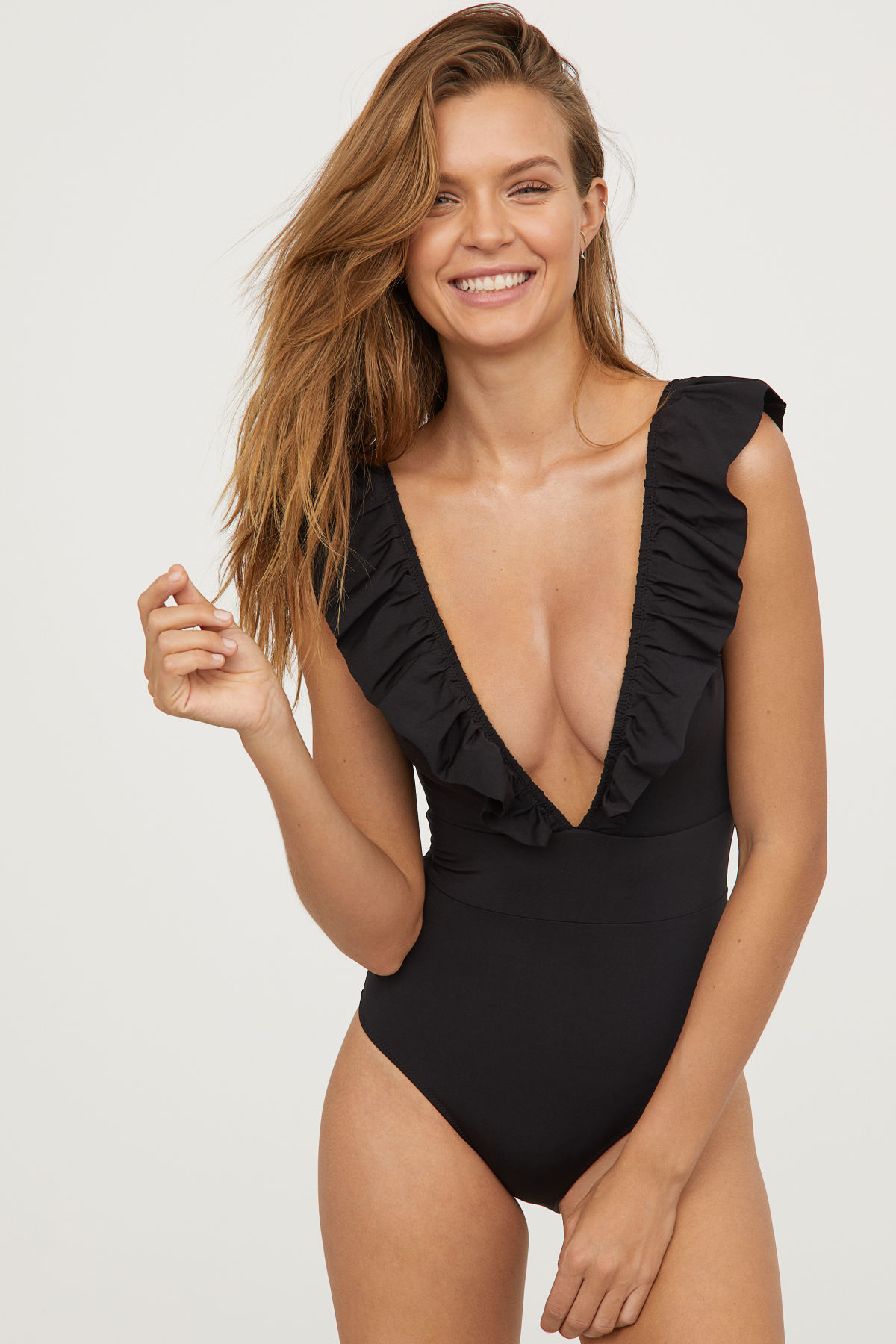 Ruffle Plunge Neck One Piece Swimsuit