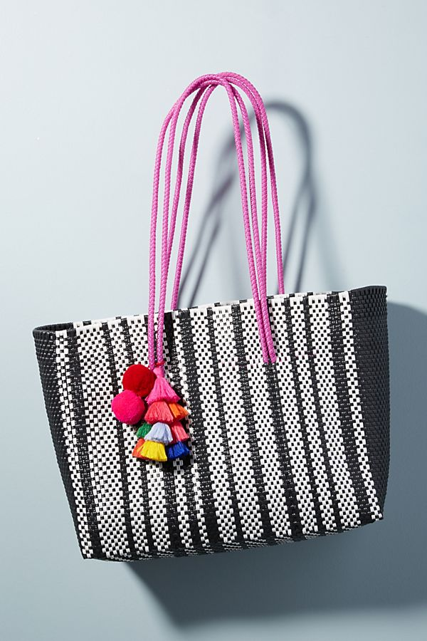 Striped Tassel Beach Tote