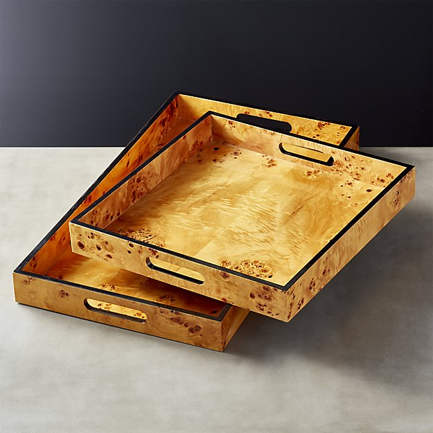 Burl Wood Serving Trays