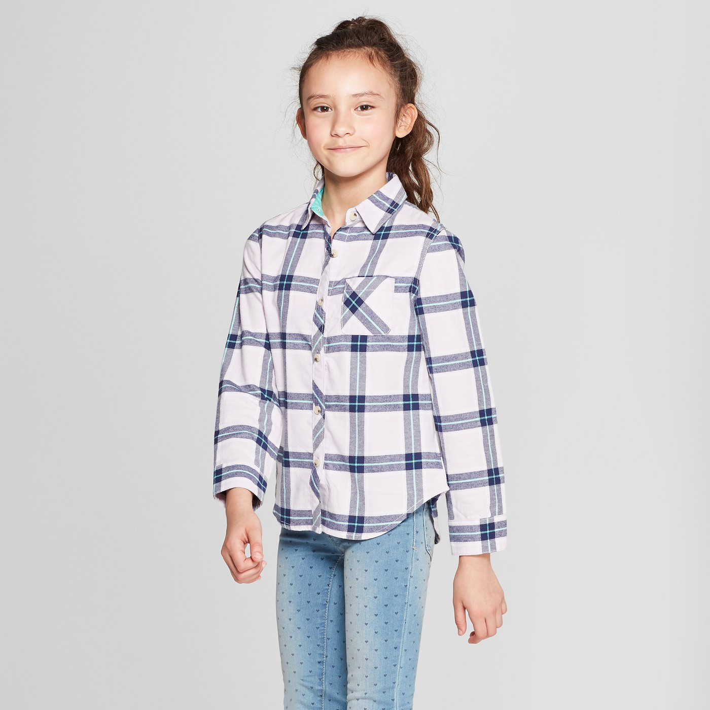 Girls' Woven Plaid Button-Down Shirt - $15
