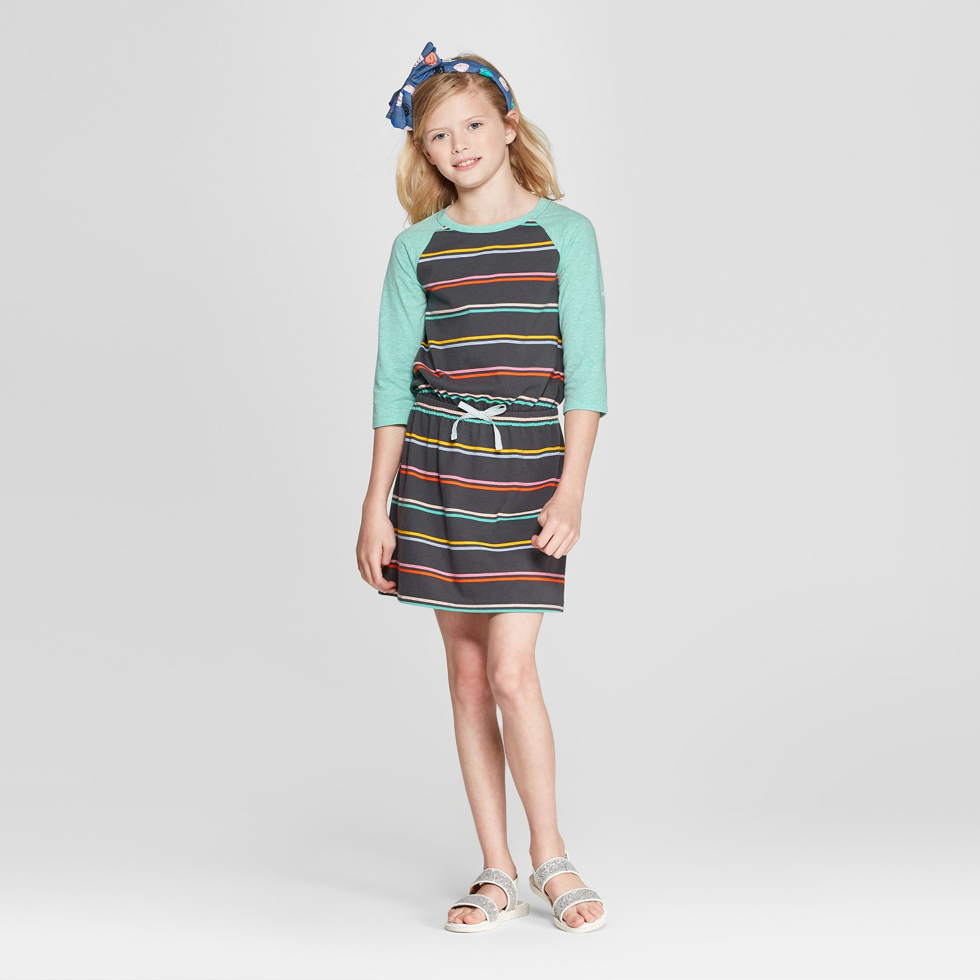 Girls' Long-Sleeve Stripe Dress - $13