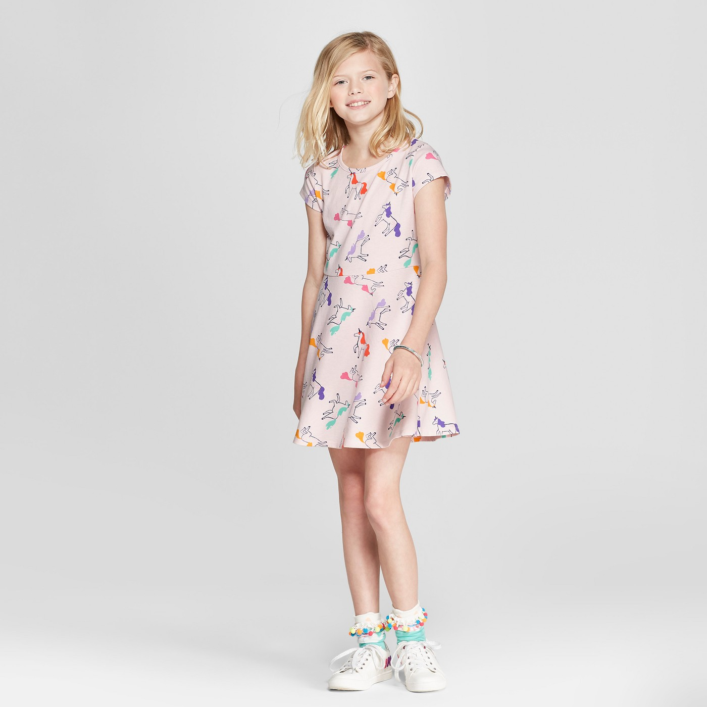 Girls' Unicorn Jersey Dress - $8