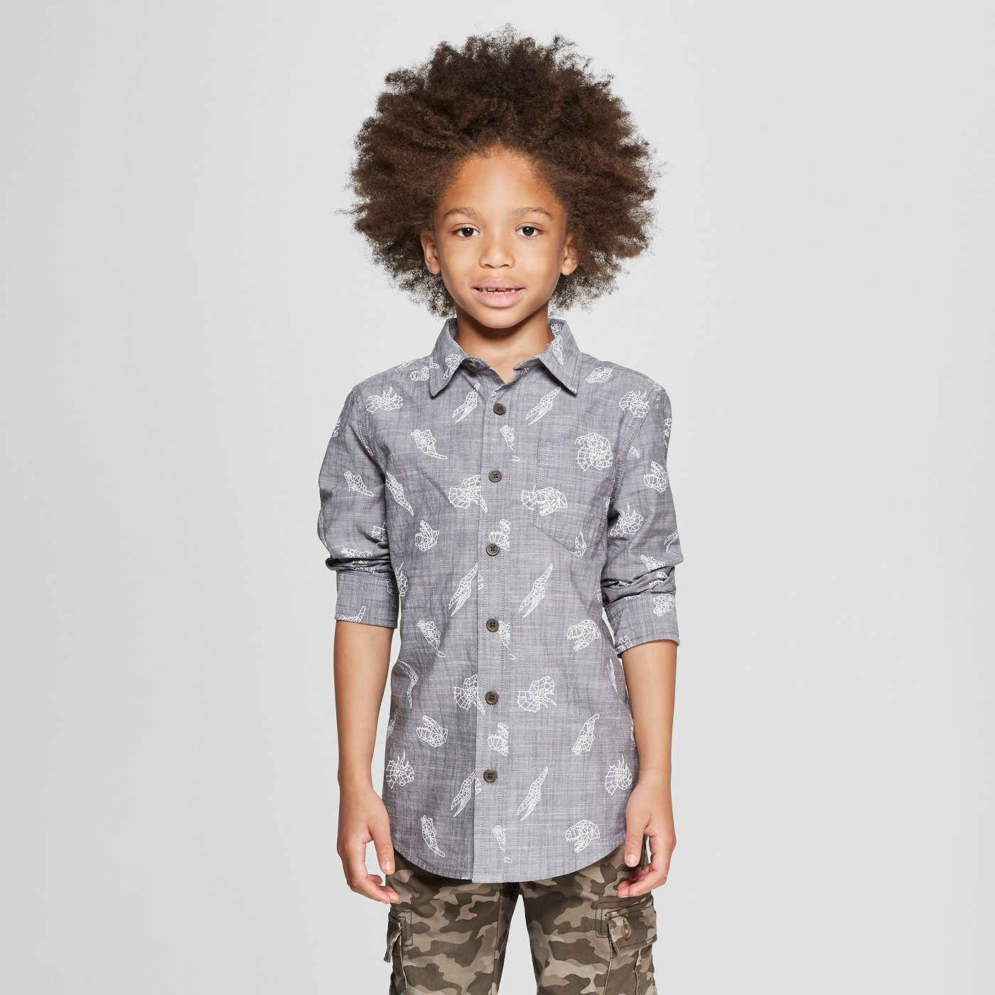 Boys' Dinosaur Graphic Button-Down Shirt - $15