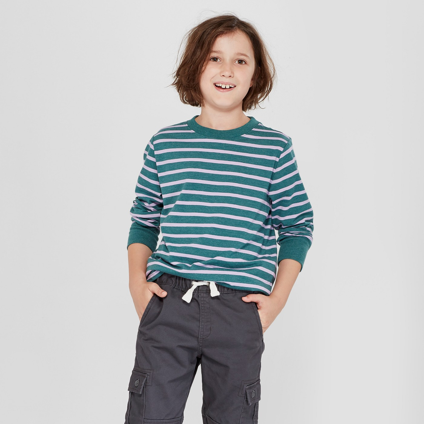 Boys' Striped Long-Sleeve Tee - $6